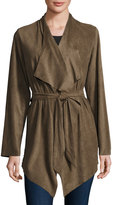 Neiman Marcus Faux-Suede Belted Jacket, Green