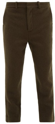 Raey Tapered-leg Boiled Wool Trousers - Green