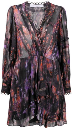 IRO Abstract-Print Ruffle-Detail Dress