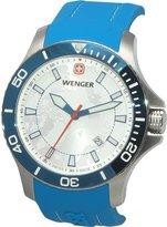Wenger Men's 43mm Blue Rubber Band Steel Case Quartz Analog Watch 01.0641.112