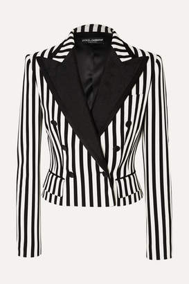 Dolce & Gabbana Cropped Jacquard-trimmed Striped Cady Blazer - Black