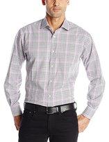 Thomas Dean Men's 1 Button Spread Collar Jacquard Check Shirt