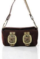 Dolce & Gabbana Brown Suede Gold Tone Buckle Detail Shoulder Handbag