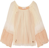 Chloé Fluted Silk-crepon Blouse - Cream