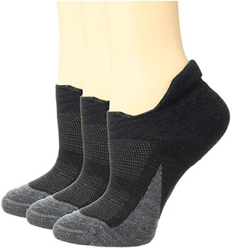 Feetures Merino 10 Cushion No Show Tab 3-Pair Pack (Charcoal) No Show Socks Shoes