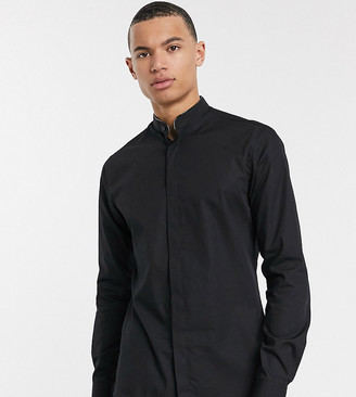 Twisted Tailor TALL shirt with metallic piping grandad collar in black