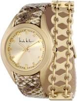 Nicole Miller Women's NMC007F 'Whitney' Gold Double Wrap Analog Watch