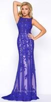 Mac Duggal Lace Applique Open Back Prom Dress
