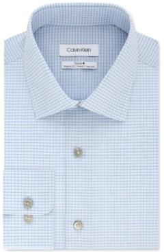 Calvin Klein Men's Steel+ Classic-Fit Blue Cloud Check Dress Shirt