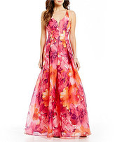 Jump Floral Print Open X-Back Ball Gown