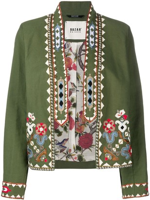 Bazar Deluxe Floral Embroidered Cropped Jacket