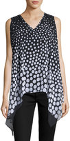 Neiman Marcus Double-Layer Polka-Dot Sleeveless Blouse, Black/White