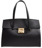 Salvatore Ferragamo Large Mara Leather Satchel - Black
