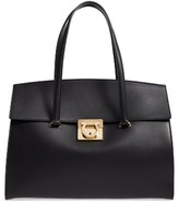 Salvatore Ferragamo Large Smooth Leather Satchel - Black