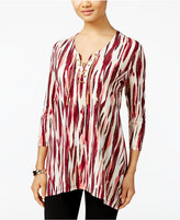 JM Collection Lace-Up Tunic, Only at Macy's