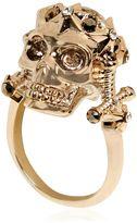 Alexander McQueen Star Dust Skull Swarovski Brass Ring