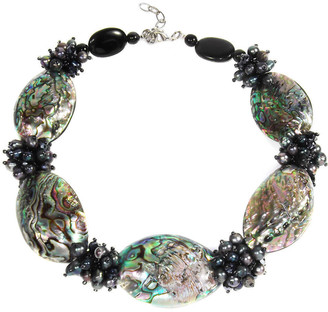 Aeravida Handmade Tropical Beauty Genuine Peacock Abalone Shell Necklace