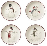 Williams-Sonoma Williams Sonoma Snowman Mixed Appetizer Plates, Set of 4