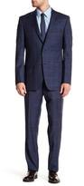 Ike Behar Positano Blue Windowpane Two Button Notch Lapel Wool Suit