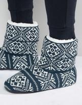 Asos Slipper Boots in Navy Holidays Fairisle