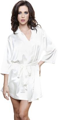 iCollection Women's Satin 3/4 Sleeve Robe