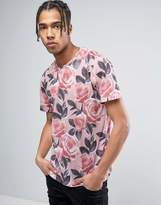 Criminal Damage T-Shirt In Rose Print