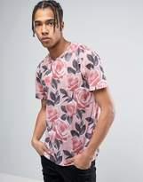 Criminal Damage T-shirt In Rose Print