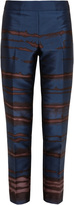 Galitzine Silk Blue Tiger Straight Leg Pants