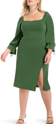 ELOQUII Square Neck Long Sleeve Midi Dress