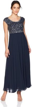 J Kara Women's Petite Short Sleeve Beaded Top Long Dress