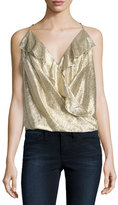 Amanda Uprichard Kristin Metallic Ruffle Top