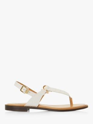 Dune Lenore Leather Saddle Trim Toe Post Sandals
