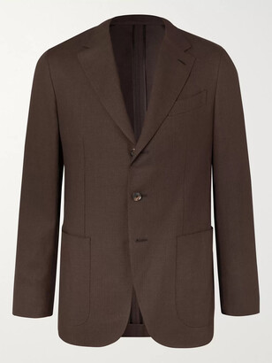 Caruso Slim-fit Linen And Wool-blend Blazer - Brown