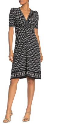 Max Studio Half Sleeve Cinch Printed Dress