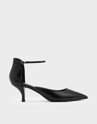Charles & Keith Wrinkled Patent Sculptural Kitten Heel Court Shoes