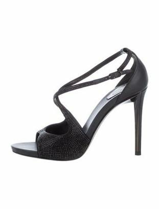 Rene Caovilla Satin Embellished Ankle Strap Sandals Black