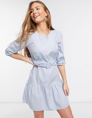 New Look belted poplin tiered mini dress in light blue