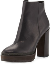 Brunello Cucinelli Leather Monili-Trimmed Ankle Boot, Black