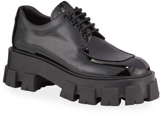 Prada Chunky Patent Lace-Up Shoes