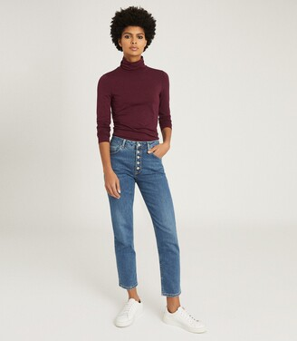 Reiss Charlie - Jersey Rollneck Top in Berry