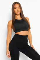 Boohoo Violet Strap Back Performance Sports Bra black