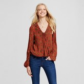 Mossimo Women's Long Sleeve Woven Top Red Flower Print
