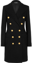 Balmain Double-breasted Wool And Cashmere-blend Coat - Black