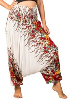 Lofbaz Women's Floral Printed Smock Waist 2 in 1 Jumpsuit Pants White & Red XL