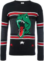 Saint Laurent T-rex patterned knit jumper - men - Wool - XL