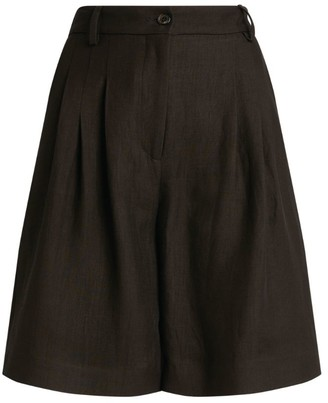 Piazza Sempione Linen-Blend Pleated Shorts