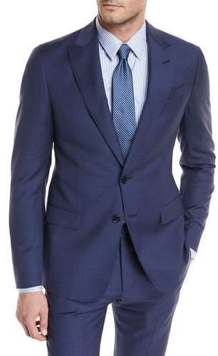 Giorgio Armani Tonal Grid Wool Two-Piece Suit