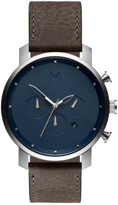 MVMT Mens Analogue Quartz Watch with Leather Calfskin Strap D-MC01-SGR