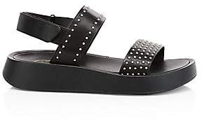 Ash Women's Vivi Studded Leather Slingback Flatform Sandals