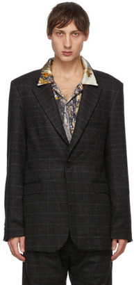 Serapis Brown Brushed Wool Check Blazer